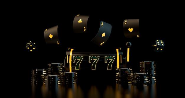 Koncepcja Hazardu Z Kartami Do Gry W Kości żetony W Kasynie I Kołem Ruletki Z Renderowaniem Neonów D. Premium Zdjęcia