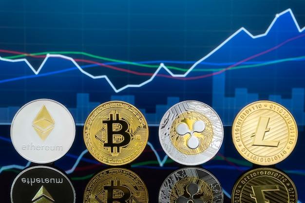 Koncepcja inwestowania w bitcoiny i kryptowaluty. Premium Zdjęcia
