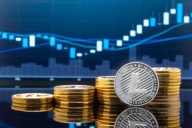 Koncepcja inwestowania w litecoin i kryptowaluty. Premium Zdjęcia