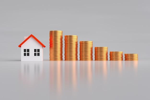 Koncepcja kredytu hipotecznego, inwestycji, nieruchomości i nieruchomości - bliska model domu i stosy złotych monet Premium Zdjęcia
