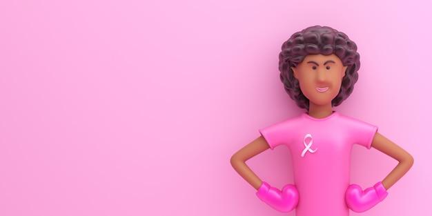Koncepcja Miesiąca świadomości Dnia Raka Piersi Z Postacią Z Kreskówki Afro Girl Premium Zdjęcia