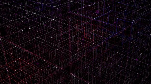 Koncepcja perspektywy siatki 3d do wizualizacji danych w sieci cyfrowej. Premium Zdjęcia
