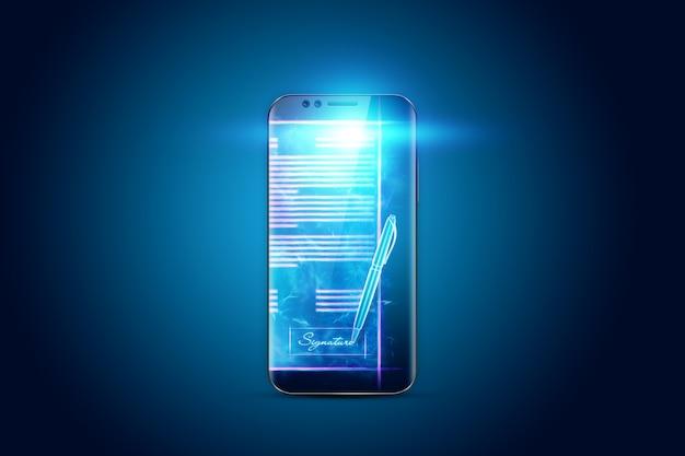 Koncepcja Podpisu Elektronicznego, Biznes Na Odległość, Zdjęcie Telefonu I Hologram Umowy. Współpraca Zdalna, Biznes Online, Kopia Przestrzeń. Różne środki Przekazu. Ilustracja 3d, Renderowanie 3d. Premium Zdjęcia