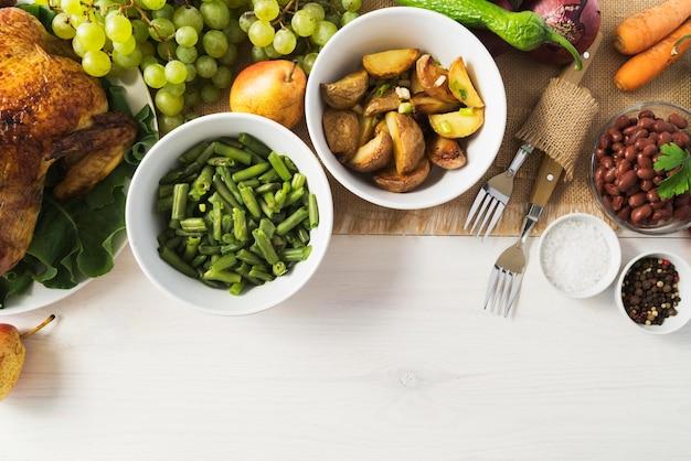 Koncepcja Posiłek Dziękczynienia Z Warzywami Darmowe Zdjęcia