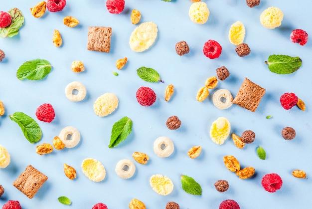 Koncepcja Składników Zdrowe śniadanie. Różnorodny śniadaniowy Zboże, Malinki I Mennica Na Błękitnym Tle, Kopii Astronautyczny Odgórny Widok Premium Zdjęcia