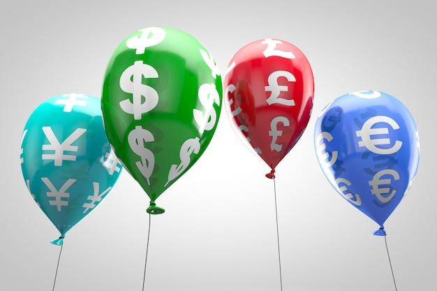 Koncepcja: światowy System Finansowy. Nadmuchiwane Kolorowe Balony Z Symbolami Waluty. Premium Zdjęcia