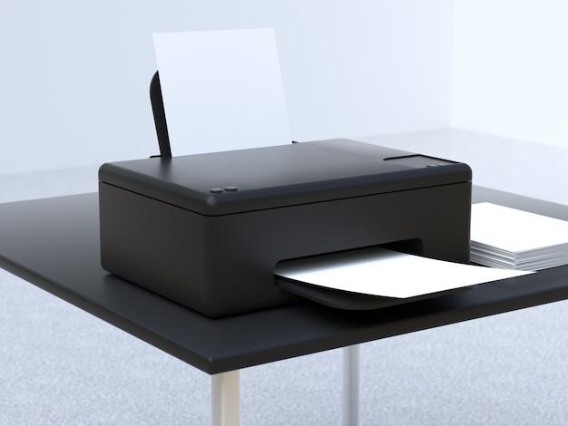 Koncepcja Technologii Biurowych 3d Renderowania Drukarki Premium Zdjęcia