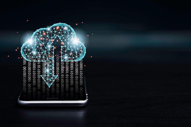 Koncepcja Transformacji Technologii Przetwarzania W Chmurze, Wirtualne Przetwarzanie W Chmurze Do Przesyłania, Przesyłania I Pobierania Danych Informacyjnych Za Pomocą Smartfona. Premium Zdjęcia