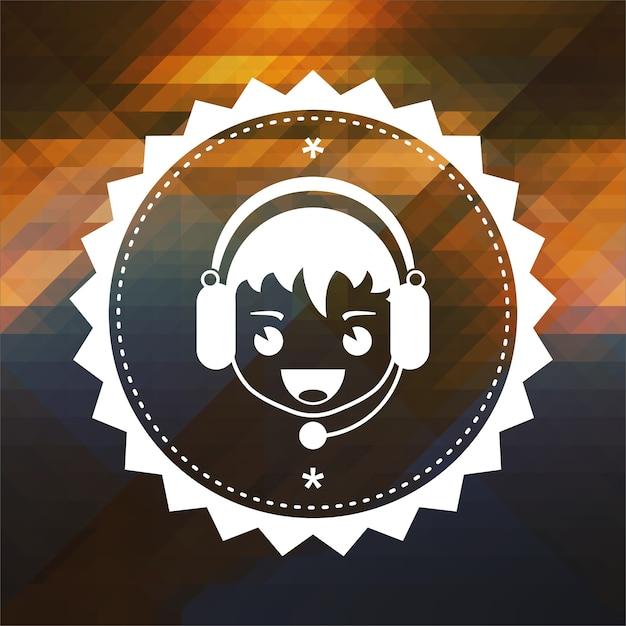 Koncepcja Wsparcia Na żywo. Projekt Etykiety Retro. Hipster Tło Z Trójkątów, Efekt Przepływu Koloru. Premium Zdjęcia