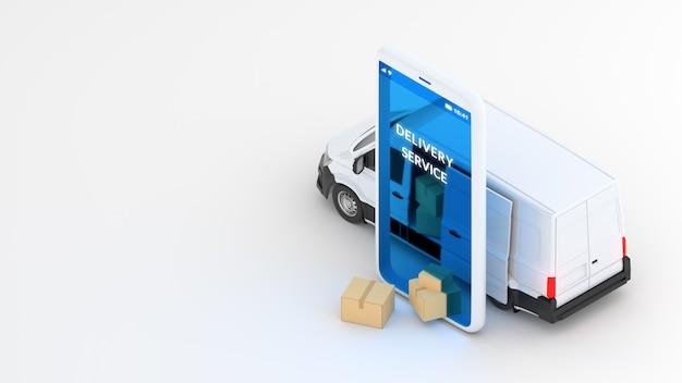 Koncepcja Wysyłki Usługi Dostawy Online. Biała Furgonetka I Telefon Komórkowy. Renderowania 3d Premium Zdjęcia