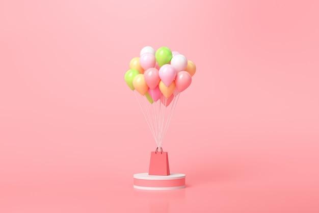 Koncepcja Zakupów Online. Balony I Pudełka Na Prezenty Z Torbą Na Zakupy Na Różowo Premium Zdjęcia