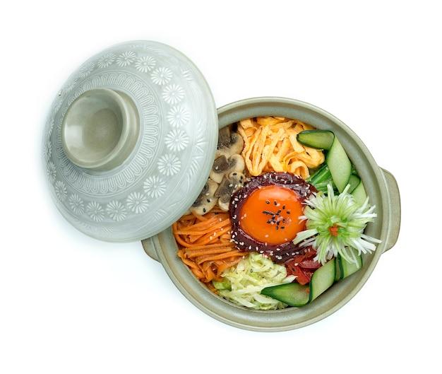 Koreańskie Warzywa Mieszane Z Ryżem Bibimbub Premium Zdjęcia