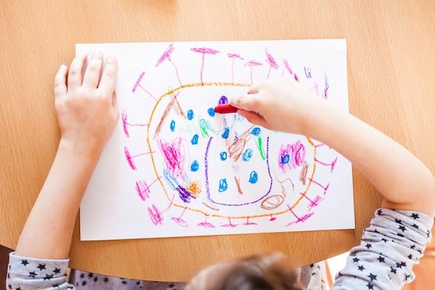 Koronawirus Atakuje Rodzinę Domową, Kreatywność Dzieci, Rysunki Kredkami, Kwarantannę, Czas W Domu, Rozwój Dziecka Premium Zdjęcia