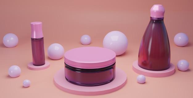 Kosmetyk I Branding W Różowym Tle Powierzchni Premium Zdjęcia