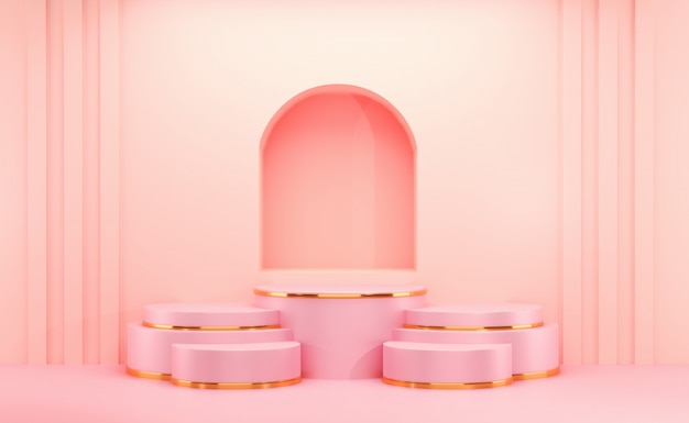 Kosmetyki Różowe I Złote Puste Tło. Premium Zdjęcia