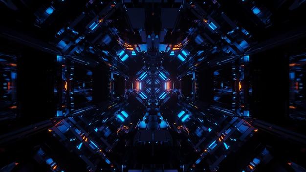Kosmiczne Tło Z Niebieskimi światłami Laserowymi O Fajnych Kształtach Darmowe Zdjęcia