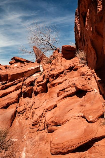 Krajobraz Pomarańczowe Rockowe Formacje Przy Valley Of Fire State Park W Południowym Nevadzie Premium Zdjęcia