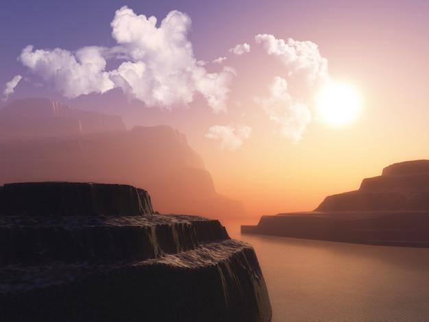 Krajobraz Z Klifami W Oceanie Przed Zachodem Słońca Niebo Darmowe Zdjęcia