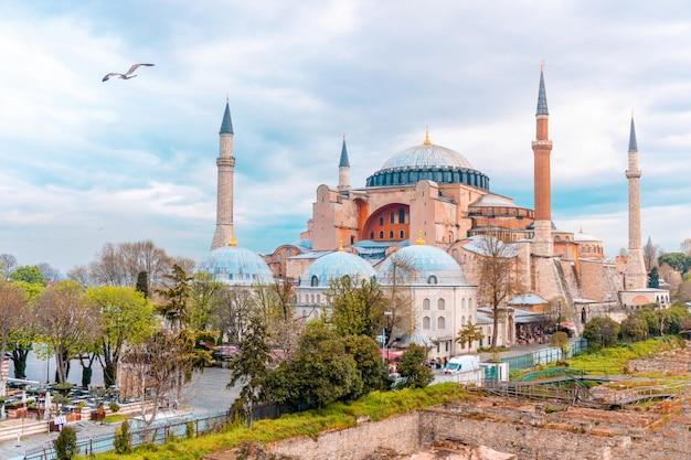 Krajobrazowy widok hagia sophia w istanbuł, turcja Premium Zdjęcia
