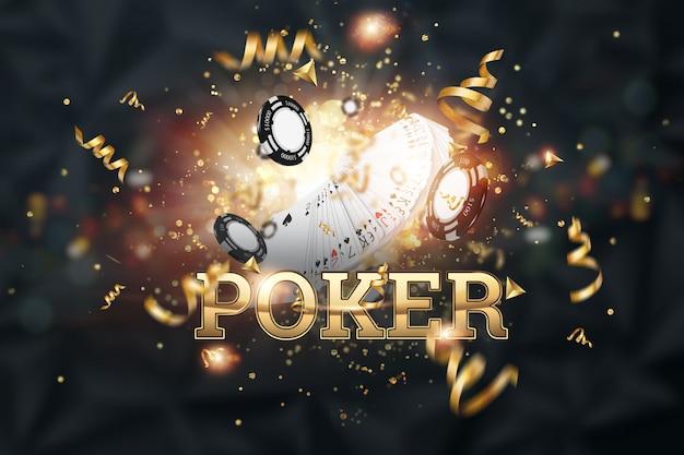 Kreatywne Tło, Poker Napis, Karty, żetony Kasyna Na Ciemnym Tle Premium Zdjęcia