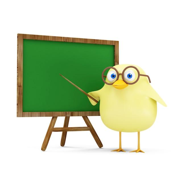 Kreskówka Zabawny Mały Nauczyciel Kurczaka W Pobliżu Pustej Tablicy Na Białym Tle Premium Zdjęcia