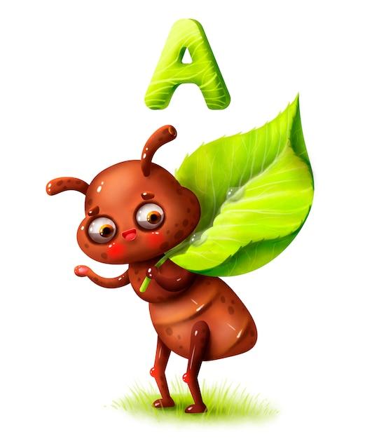 Kreskówki śliczna Mrówka Z Liściem I Literą Abecadło Premium Zdjęcia