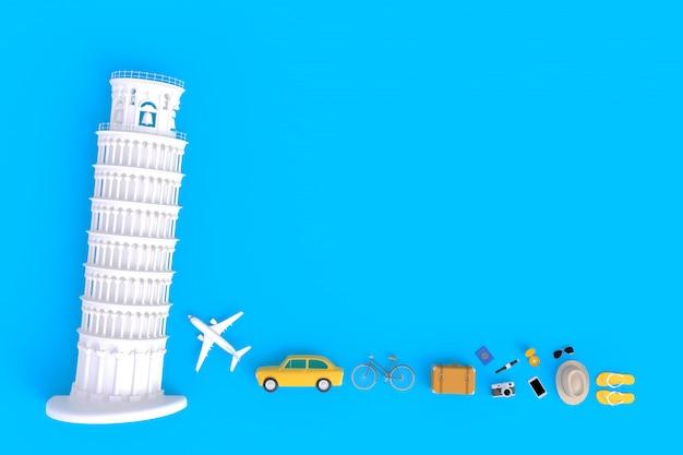 Krzywa Wieża W Pizie I Akcesoria Podróżne Premium Zdjęcia