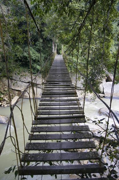Krzyżujący niebezpiecznego most drewniane deski na rzece Premium Zdjęcia