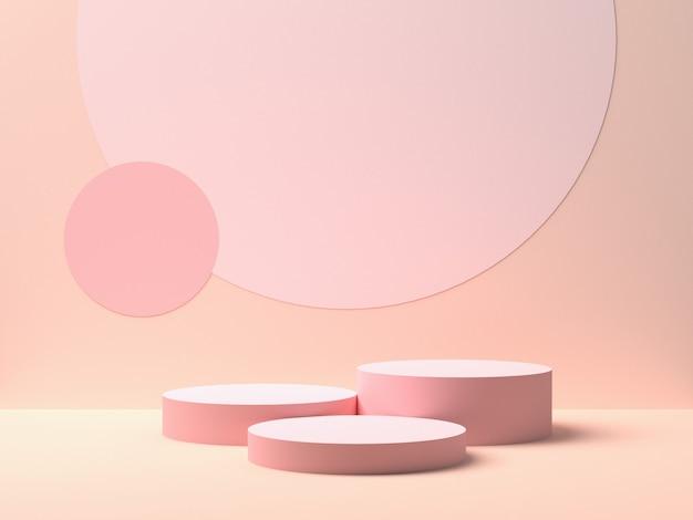 Kształt Abstrakcyjnej Geometrii. Różowe Podium Na Różowym Tle Dla Produktu. Minimalna Koncepcja. Renderowanie 3d Premium Zdjęcia