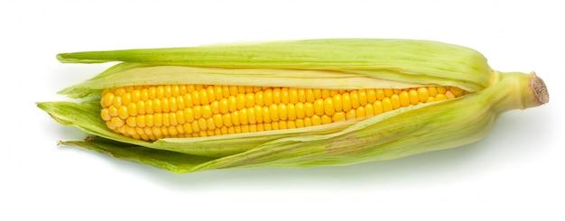 Kukurydza W Liściach Na Białym Tle. Premium Zdjęcia