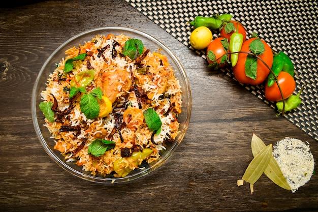Kurczak Biryani Fotografia żywności Premium Zdjęcia