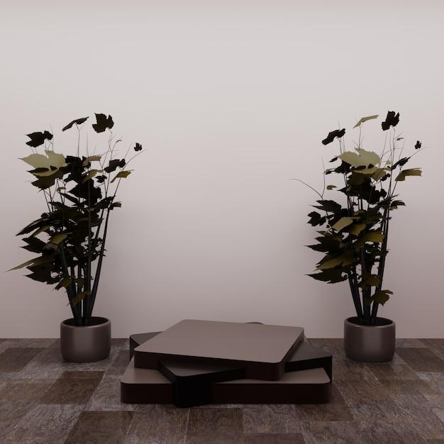 Kwadratowe Podium Z Kilkoma Miniaturowymi Drzewami Na Podłodze, Wykorzystując Jako Wizytówkę Produktu Lub Cokół Premium Zdjęcia