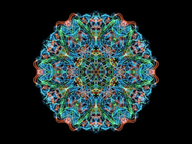 Kwiat Mandali Niebieski, Koralowy I Zielony Streszczenie Płomień, Neon Ozdobnych Kwiatowy Okrągły Wzór Premium Zdjęcia