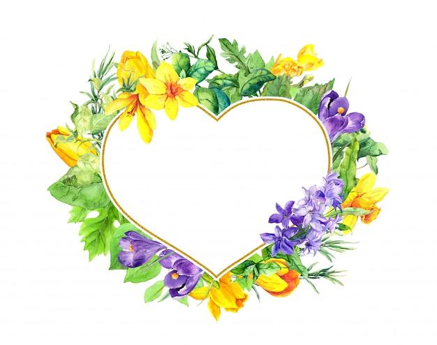 Kwiatowy Kształt Serca - Wiosenne Kwiaty, Krokusy, Tulipany, Narcyz, Hiacynt. Akwarela Wieniec Ramki Na Walentynki Premium Zdjęcia