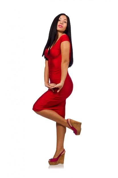 Ładny kobieta model odizolowywający na bielu Premium Zdjęcia