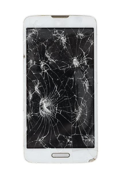 Łamany Smartphone Odizolowywający Na Białym Tle Premium Zdjęcia
