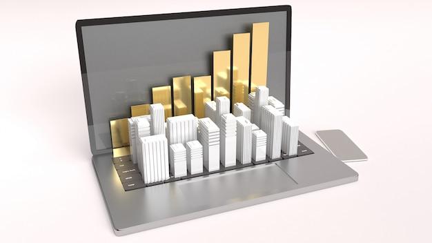 Laptop i biały budynek dla majątkowego pojęcia 3d renderingu Premium Zdjęcia