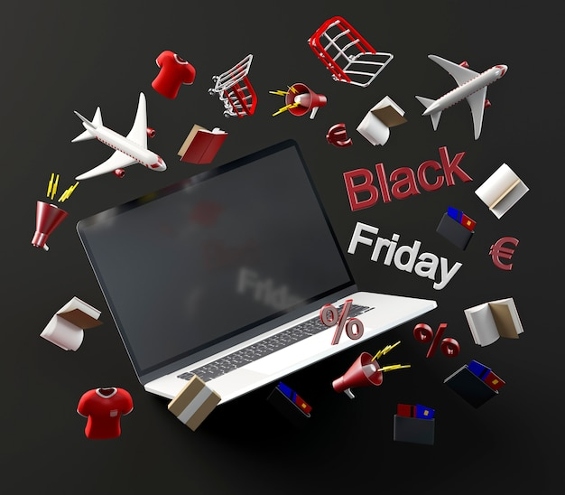 Laptop Na Zakupy W Czarny Piątek Darmowe Zdjęcia