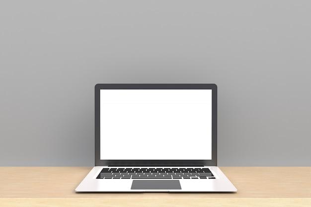 Laptop Z Białym Pustym Ekranem Premium Zdjęcia