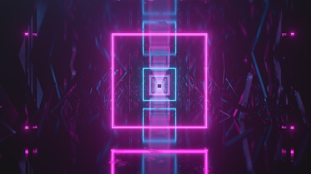 Latanie W Abstrakcyjnej Przestrzeni Wzdłuż Krystalicznych Bloków. Przed Nami Neonowe światło. Premium Zdjęcia
