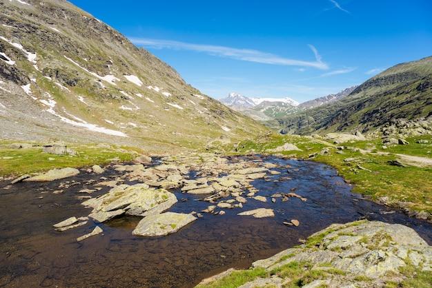 Latem wysokogórski potok alpejski Premium Zdjęcia