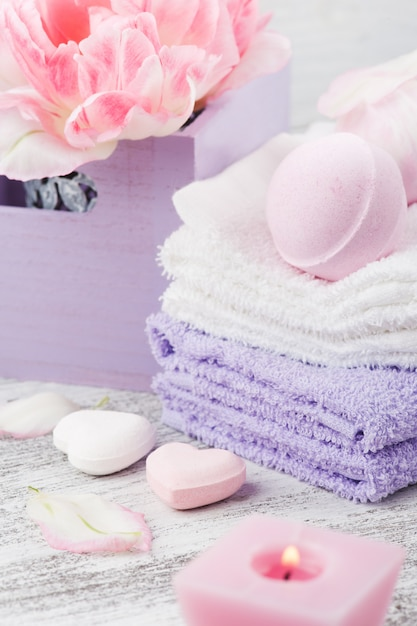 Lawendowe Bomby Do Kąpieli I Mydła Premium Zdjęcia