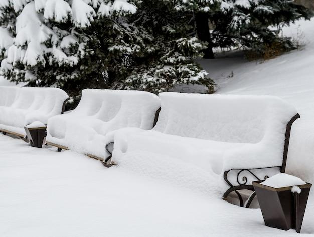 Ławki Pod śniegiem Premium Zdjęcia