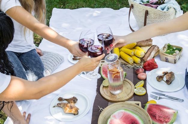 Letni Piknik Z Przyjaciółmi W Naturze Z Jedzeniem I Piciem. Darmowe Zdjęcia