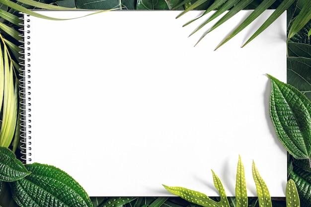 Letnia Mieszanka Tropikalna Pozostawia Tło Z Pustym Białym Papierem, Widok Z Góry, Miejsce Na Kopię Premium Zdjęcia
