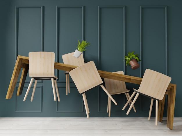 Lewitacja Renderowania 3d Stół Do Jadalni W Dużym Pokoju. Projekt Wnętrz, W Stylu Art Deco Premium Zdjęcia