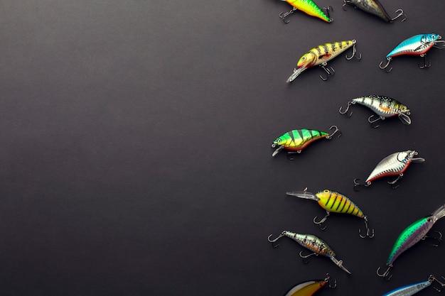 Leżał Płasko Kolorowe Przynęty Rybne Z Miejsca Kopiowania Darmowe Zdjęcia