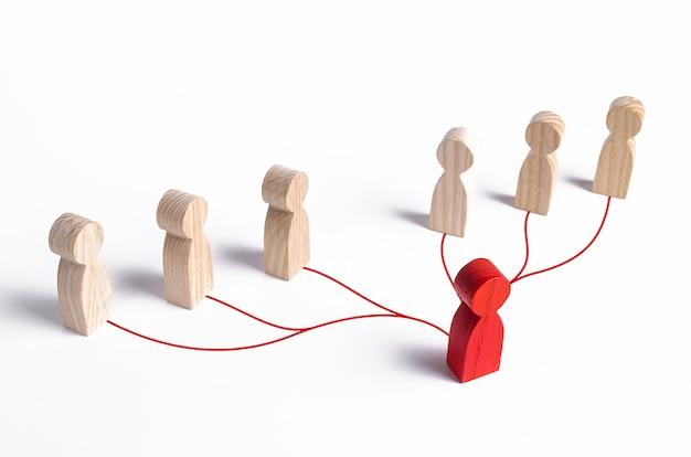 Lider i podwładni są połączeni liniami. przywództwo, praca zespołowa, informacje zwrotne w zespole Premium Zdjęcia