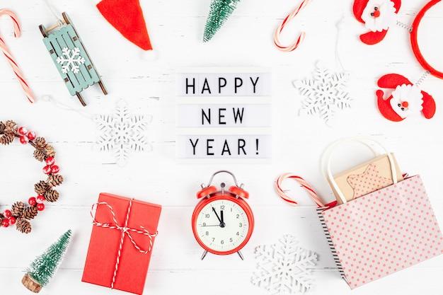 Lightbox Budzik Szczęśliwego Nowego Roku Premium Zdjęcia