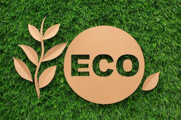 Liść I Ekologia Znak Na Trawie Premium Zdjęcia